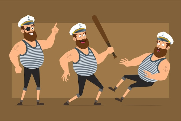 Cartoon flat funny bearded fat sailor man character in captain hat with tattoo. boy running with baseball bat and falling down.