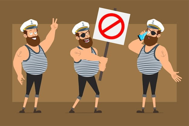 Cartoon flat funny bearded fat sailor man character in captain hat with tattoo. boy talking on phone and holding no entry stop sign.