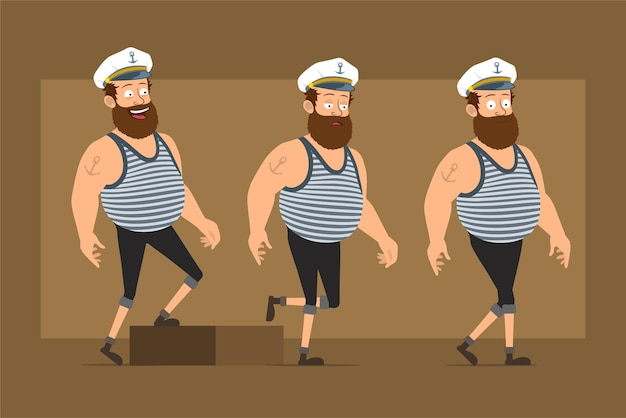 Cartoon flat funny bearded fat sailor man character in captain hat with tattoo. successful tired boy walking up to his goal.