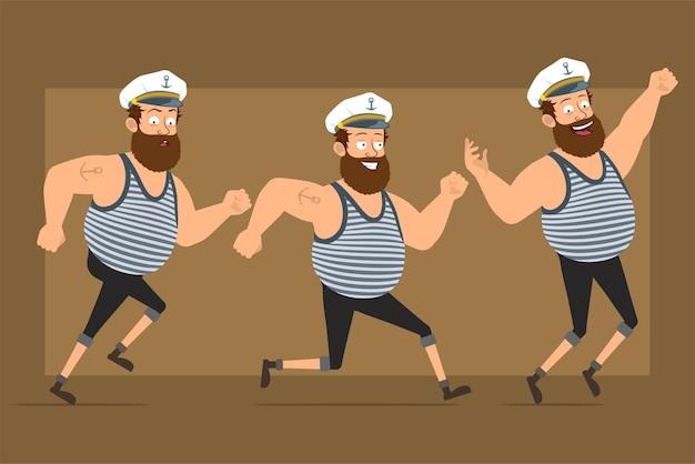 문신과 선장 모자에 만화 평면 재미 수염 된 뚱뚱한 선원 남자 캐릭터. 점프 하 고 빨리 앞으로 달리는 소년.