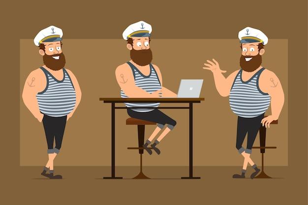Мультяшный плоский смешной бородатый толстый матрос персонаж в капитанской шляпе с татуировкой. мальчик позирует, работает на ноутбуке и показывает приветственный знак.