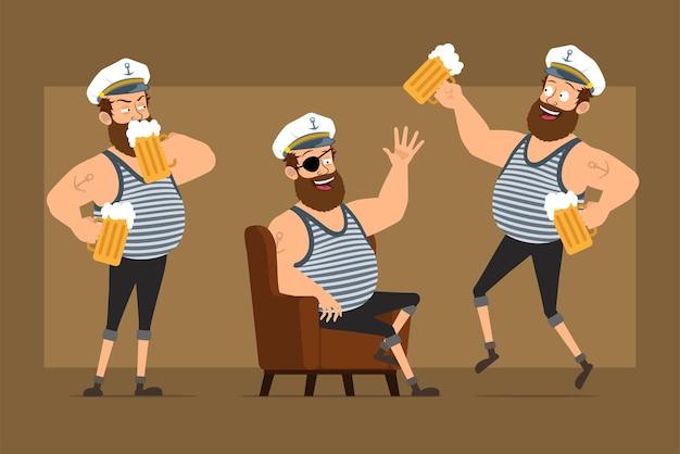 入れ墨のあるキャプテン帽子の漫画フラット面白いひげを生やした太った船乗りの男のキャラクター。休憩し、マグカップからビールを飲む少年。