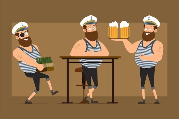 Мультяшный плоский смешной бородатый толстый матрос персонаж в капитанской шляпе с татуировкой. мальчик отдыхает, держа пивные кружки и коробку стеклянных бутылок.