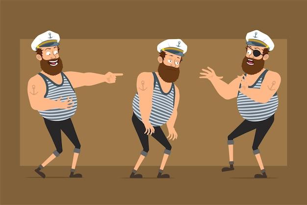 Мультяшный плоский смешной бородатый толстый матрос персонаж в капитанской шляпе с татуировкой. мальчик грустный, усталый, смеется, прыгает и танцует.