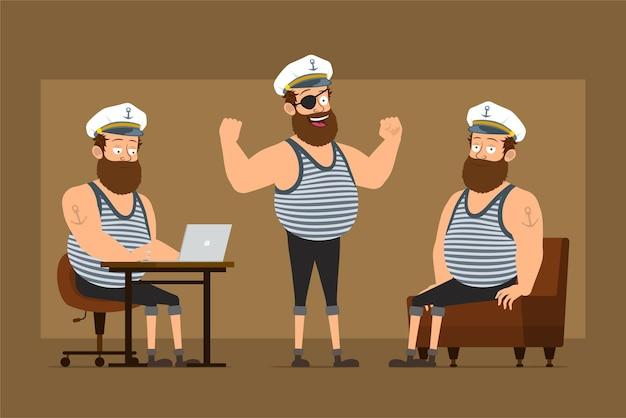 Мультяшный плоский смешной бородатый толстый матрос персонаж в капитанской шляпе с татуировкой. мальчик работает в ноутбуке и показывает мышцы.