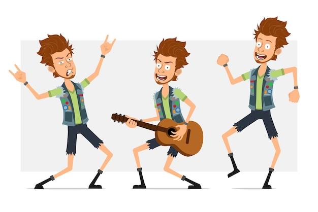 Мультяшный плоский забавный бородатый хипстерский персонаж в джинсовых шортах и куртке