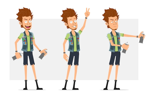 Cartoon flat funny bearded hipster man character in jeans shorts and jerkin