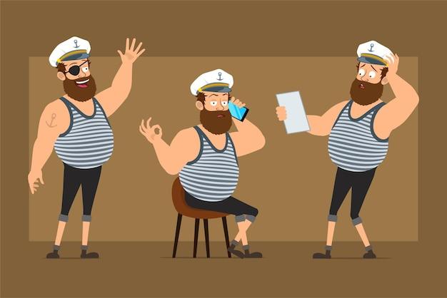 문신과 선장 모자에 평면 재미 수염 된 선원 남자 캐릭터 만화. 전화 통화, 메모 읽기 및 안녕하세요 기호를 보여주는 소년.