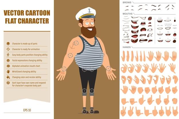 문신과 선장 모자에 평면 재미 수염 된 선원 남자 캐릭터 만화. 얼굴 표정, 눈, 눈썹, 입, 손.