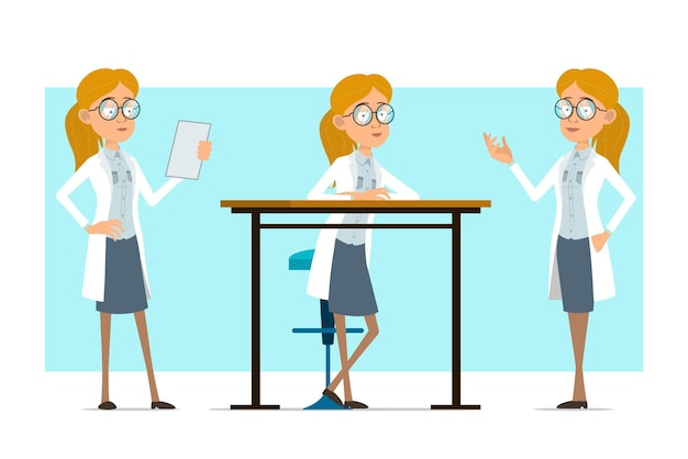 Cartoon flat funny blonde doctor woman character in white uniform and glasses. girl reading note and posing for photo.