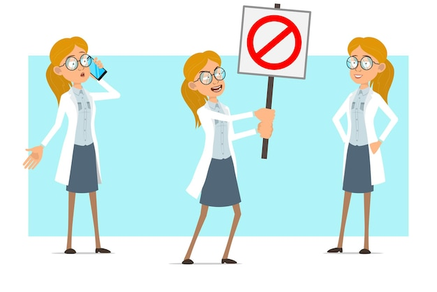 Cartoon flat funny blonde doctor woman character in white uniform and glasses. girl talking on phone and holding no entry stop sign.