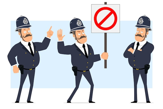 Cartoon flat funny british fat policeman character in helmet and uniform. boy posing and holding no entry stop sign.
