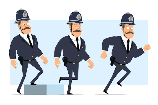 Cartoon flat funny british fat policeman character in helmet and uniform. successful tired boy walking up to his goal.