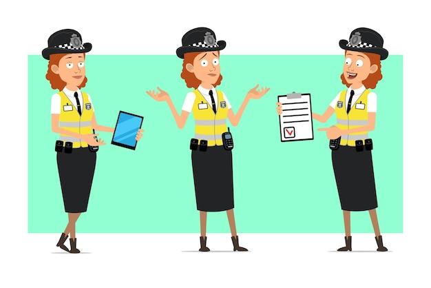 バッジ付きの黄色いジャケットの漫画フラット面白い英国の警察の女性キャラクター。スマートタブレットを持って、やることリストを見せている女の子。
