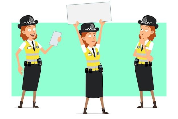 Мультфильм плоский смешной британский полицейский женский персонаж в желтой куртке с значком. девушка думает и держит знак чистого листа бумаги для текста.