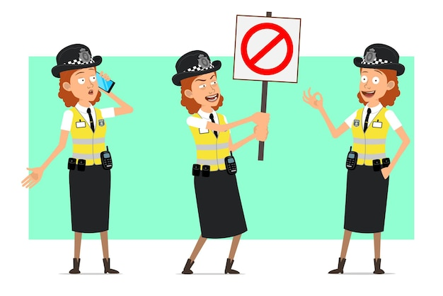Cartoon flat funny british police woman character in yellow jacket with badge. girl talking on phone and holding no entry stop sign.