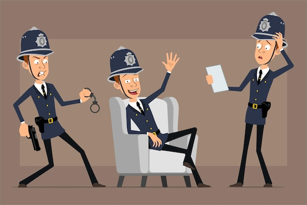 Cartoon flat funny british policeman character in blue helmet hat and uniform. boy holding pistol with handcuffs and reading document.