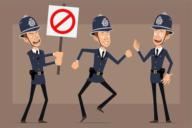 Cartoon flat funny british policeman character in blue helmet hat and uniform. boy posing and holding no entry stop sign.