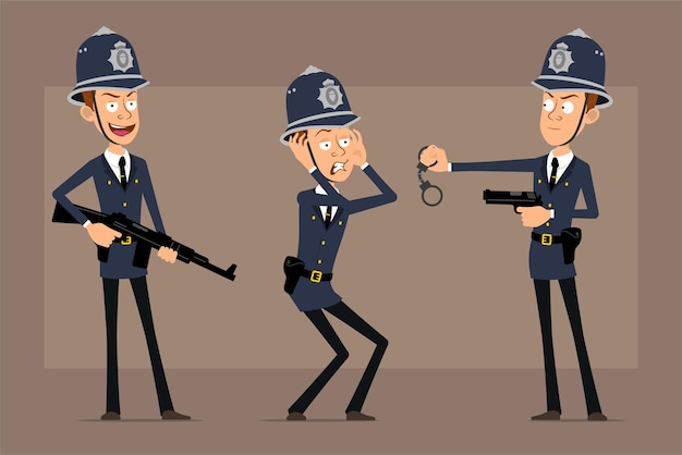 Cartoon flat funny british policeman character in blue helmet hat and uniform. boy scared, holding automatic rifle and pistol.