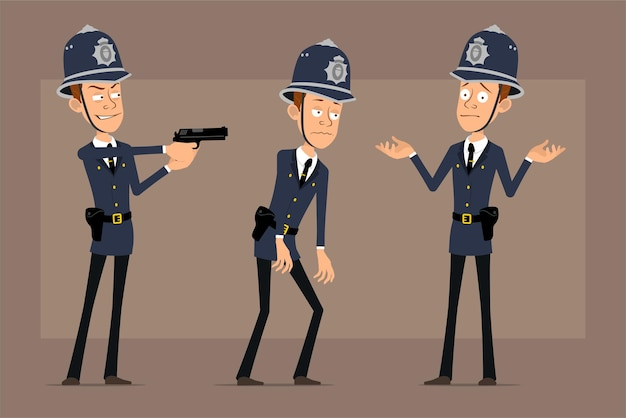 Cartoon flat funny british policeman character in blue helmet hat and uniform. boy tired and shooting from pistol.