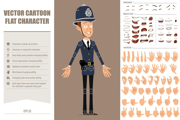 Cartoon flat funny british policeman character in blue helmet hat and uniform. face expressions, eyes, mouth and hands.