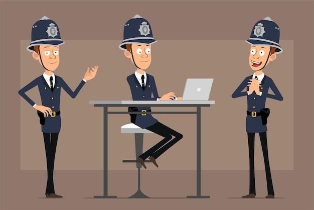 파란색 헬멧 모자와 유니폼에 만화 평면 재미 영국 경찰관 캐릭터. 소년 포즈와 노트북에서 작업입니다.