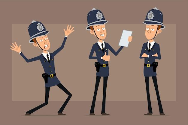파란색 헬멧 모자와 유니폼에 만화 평면 재미 영국 경찰관 캐릭터. 문서를 읽고 엄지 손가락 기호를 보여주는 소년.