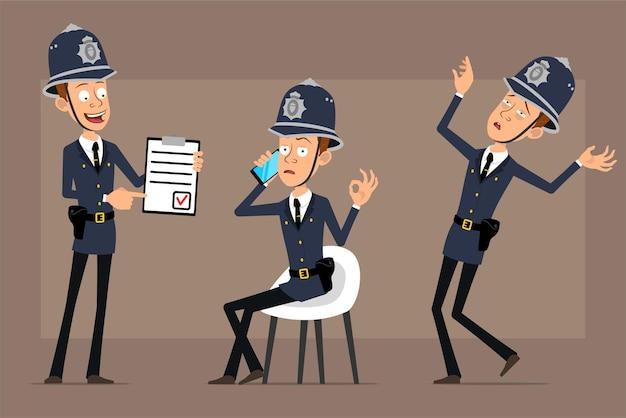 파란색 헬멧 모자와 유니폼에 만화 평면 재미 영국 경찰관 캐릭터. 소년 목록 태블릿을 표시 하 고 전화 통화.