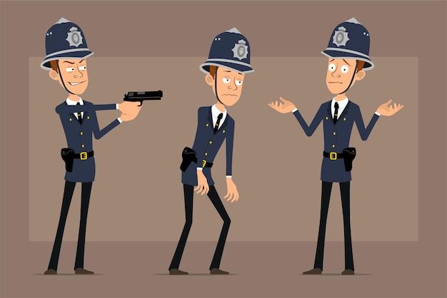 파란색 헬멧 모자와 유니폼에 만화 평면 재미 영국 경찰관 캐릭터. 피곤하고 권총에서 촬영하는 소년.