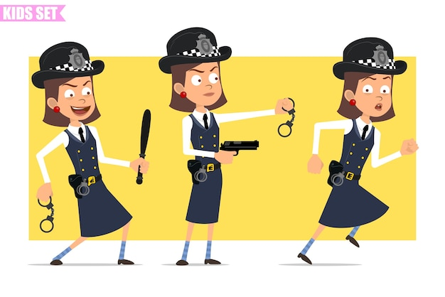 Cartoon flat funny british policeman girl character in helmet hat and uniform. girl running and holding pistol, baton, handcuffs.