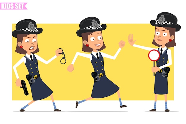 Cartoon flat funny british policeman girl character in helmet hat and uniform. girl running with pistol and handcuffs, holding stop sign.