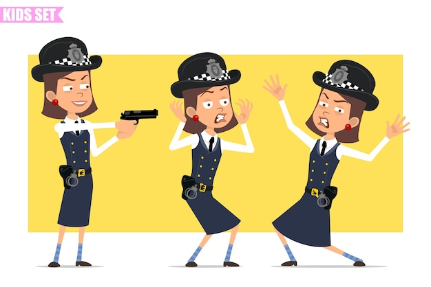 Cartoon flat funny british policeman girl character in helmet hat and uniform. girl scared, angry, crazy and shooting from pistol.