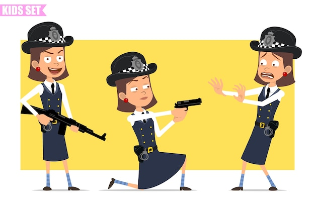 Cartoon flat funny british policeman girl character in helmet hat and uniform. girl scared, shooting from pistol and holding rifle.