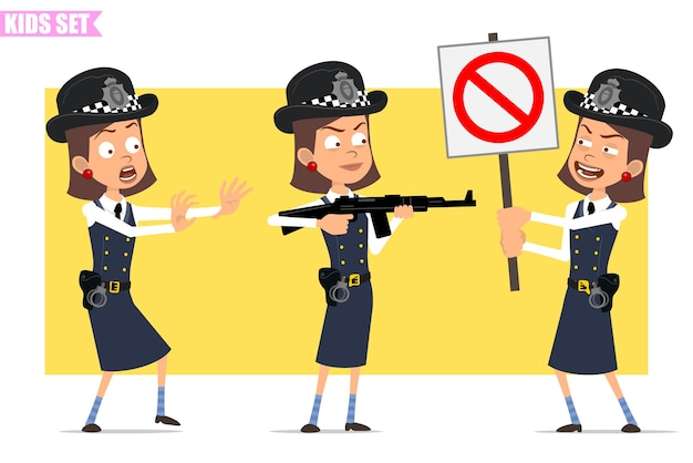 Cartoon flat funny british policeman girl character in helmet hat and uniform. girl shooting from rifle and holding no entry stop sign.