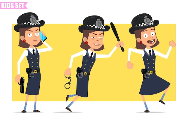 Cartoon flat funny british policeman girl character in helmet hat and uniform. girl talking on phone, running with baton and handcuffs.