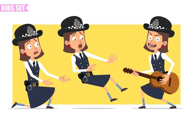 Мультяшный плоский смешной британский полицейский персонаж девушки в шлеме, шляпе и униформе. девушка играет на гитаре, падает и стоит на коленях.
