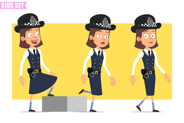 Мультяшный плоский смешной британский полицейский персонаж девушки в шлеме, шляпе и униформе. успешная усталая девушка идет к своей цели.