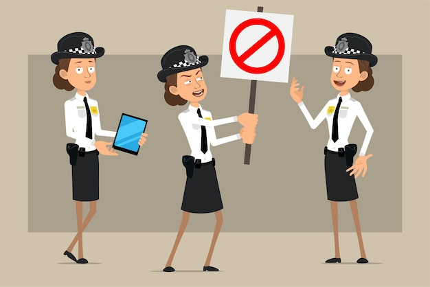 Cartoon flat funny british policeman woman character in black hat and uniform with badge. girl holding smart tablet and no entry sign.