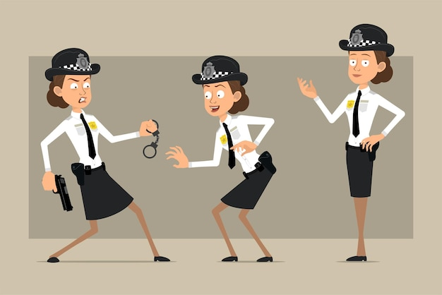 Cartoon flat funny british policeman woman character in black hat and uniform with badge. girl posing, sneaking and holding pistol.