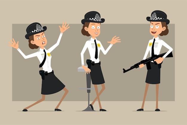Мультяшный плоский забавный британский полицейский женский персонаж в черной шляпе и униформе с значком. девушка держит винтовку и позирует на фото.