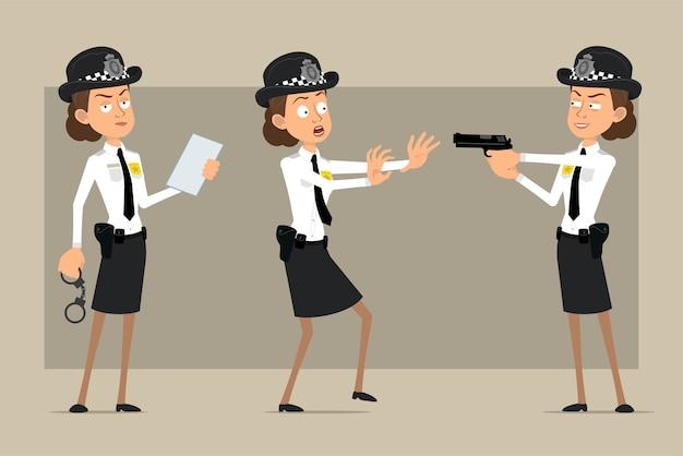 검은 모자와 배지와 유니폼에 만화 평면 재미 영국 경찰관 여자 캐릭터. 문서를 읽고 권총을 촬영하는 소녀. 애니메이션 준비. 회색 배경에 고립. 세트.