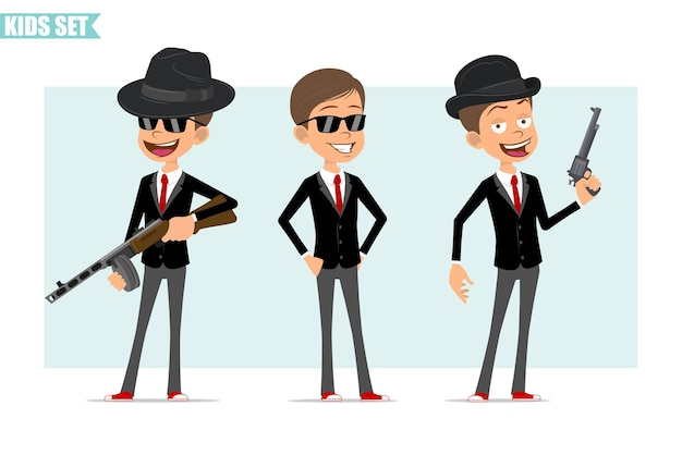Cartoon flat funny business boy character in black jacket with red tie. kid posing, holding retro automatic rifle and revolver. ready for animation. isolated on gray background. set.