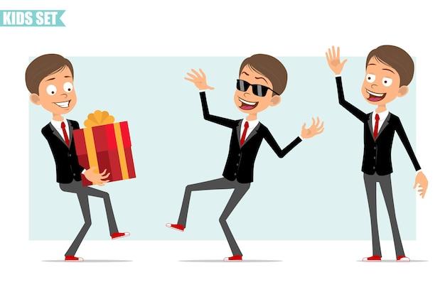 빨간 넥타이와 검은 자 켓에 만화 평면 재미 비즈니스 소년 캐릭터. 휴일 선물 상자를 들고 안녕하세요 제스처를 보여주는 아이. 애니메이션 준비. 회색 배경에 고립. 세트.
