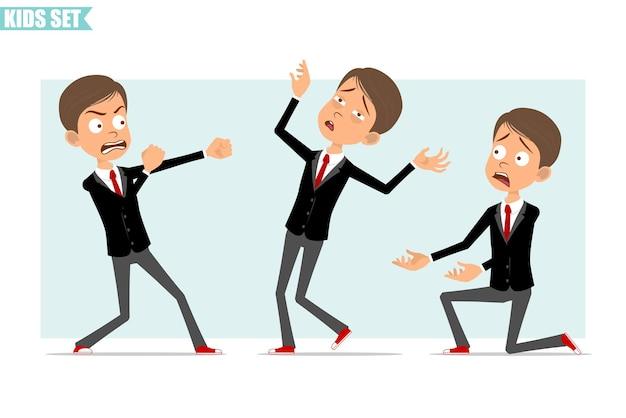 빨간 넥타이와 검은 자 켓에 만화 평면 재미 비즈니스 소년 캐릭터. 싸우고, 뒤로 떨어지고 무릎에 서있는 아이. 애니메이션 준비. 회색 배경에 고립. 세트.