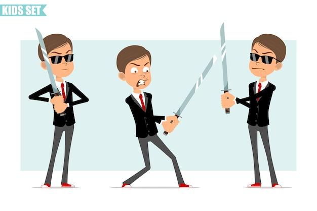 빨간 넥타이와 검은 자 켓에 만화 평면 재미 비즈니스 소년 캐릭터. 아시아 사무라이 검을 들고 싸우는 아이. 회색 배경에 고립. 세트.