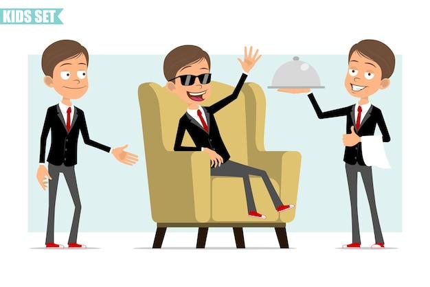 빨간 넥타이와 검은 자 켓에 만화 평면 재미 비즈니스 소년 캐릭터. 웨이터 트레이를 들고 악수하고 부드러운 의자에 쉬고있는 아이. 애니메이션 준비. 회색 배경에 고립. 세트.