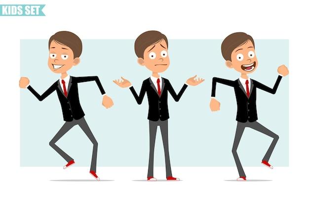 빨간 넥타이와 검은 자 켓에 만화 평면 재미 비즈니스 소년 캐릭터. 아이 오해, 춤, 점프. 애니메이션 준비. 회색 배경에 고립. 세트.