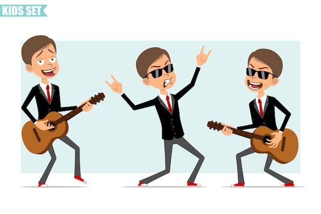 赤いネクタイと黒のジャケットの漫画フラット面白いビジネス少年キャラクター。ギターを弾き、ロックンロールのジェスチャーを示す子供。アニメーションの準備ができました。灰色の背景に分離。セットする。