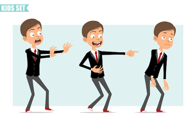赤いネクタイと黒のジャケットの漫画フラット面白いビジネス少年キャラクター。子供は怖くて、悲しくて、疲れていて、邪悪な笑顔を見せています。アニメーションの準備ができました。灰色の背景に分離。セットする。