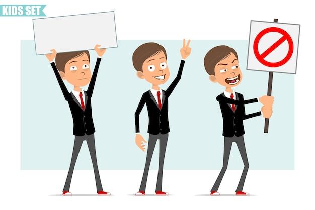 赤いネクタイと黒のジャケットの漫画フラット面白いビジネス少年キャラクター。ピースサインを示し、一時停止の標識と空白の標識を持たない子供。アニメーションの準備ができました。灰色の背景に分離。セットする。